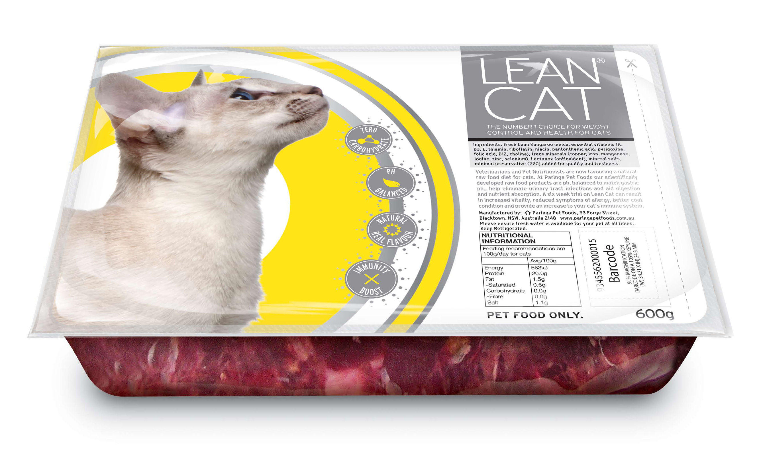 Lean Cat 2 x 100g twin pack - cut in half, easy peel top, serve in the  tray  Fresh raw Kangaroo